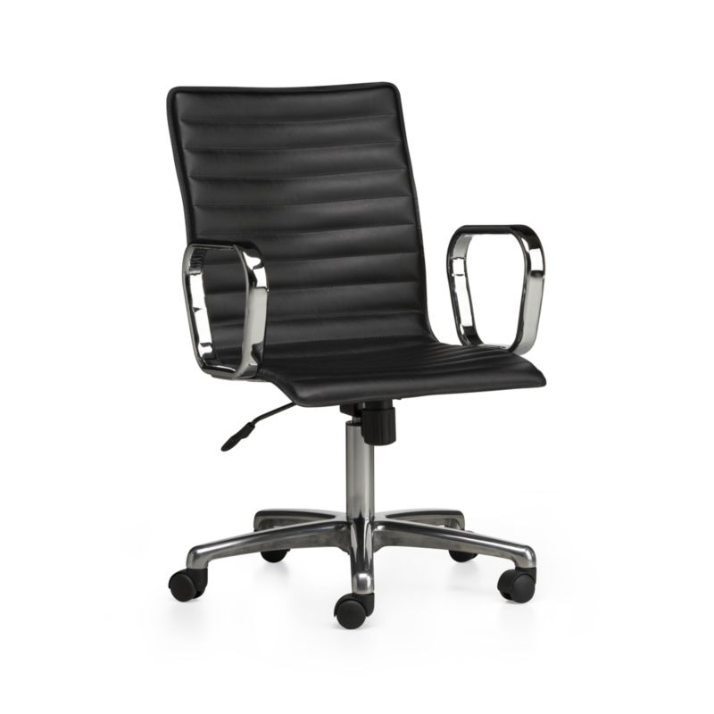 Ripple Black Leather Office Chair With Chrome Base Reviews Crate And Barrel In 2020 Black Leather Office Chair Leather Office Chair Office Chair