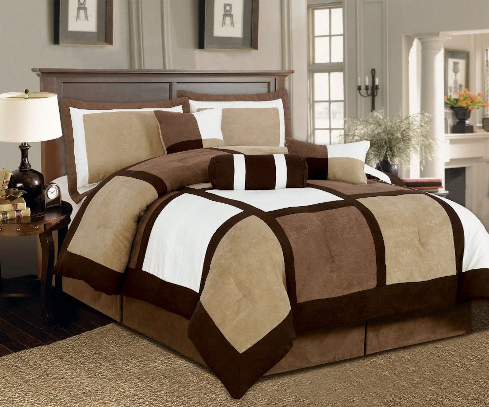 Legacy decor 7 pieces brown beige micro suede patchwork comforter set bed in a bag washable king size