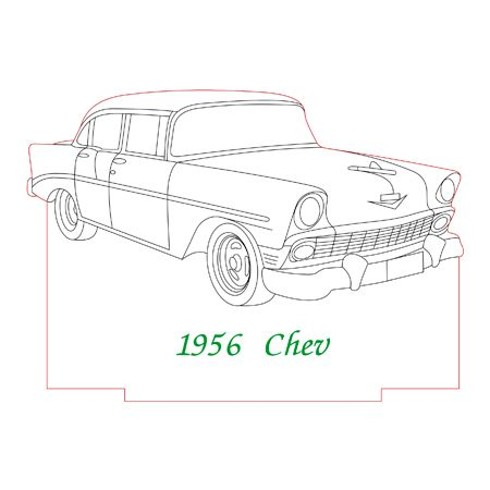 1956 Chev 3d Illusion Lamp Plan Vector File 3d Illusion Art Sketch Book 3d Illusions