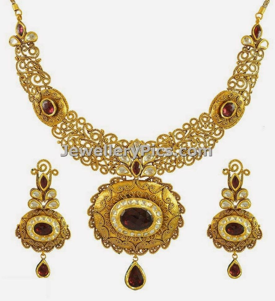 K antique gold bridal necklace and earring set latest jewellery