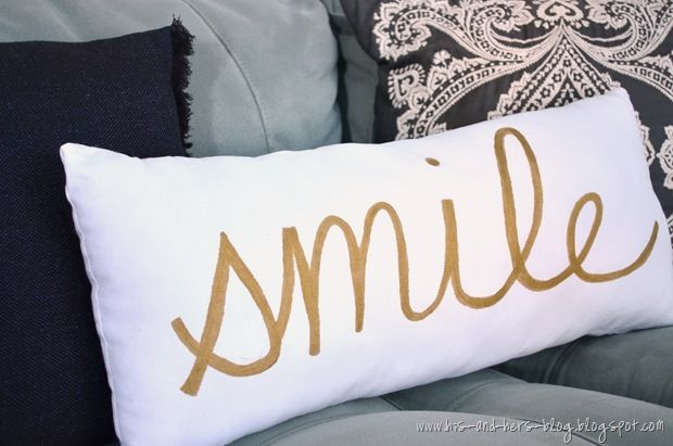 gold painted pillow i want this for the wedding!