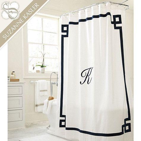 Suzanne Kasler Greek Key Linen Shower Curtain Shower Curtain