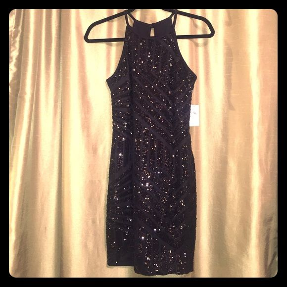 Foreign Exchange Little Black Dress New w/ tags! Beautiful black sequin dress! Foreign Exchange Dresses Mini