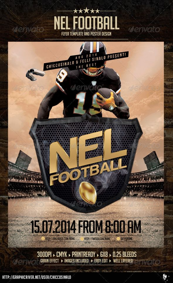 Nel Football Flyer Template is great flyer design for bowl games