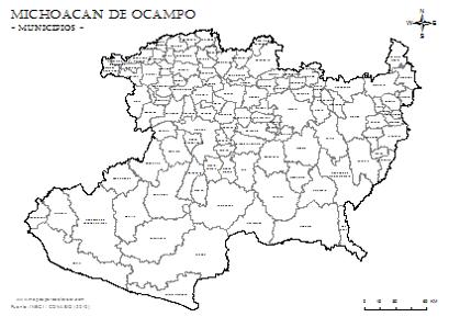 Mapa De Municipios De Michoacán De Ocampo Con Nombres Para