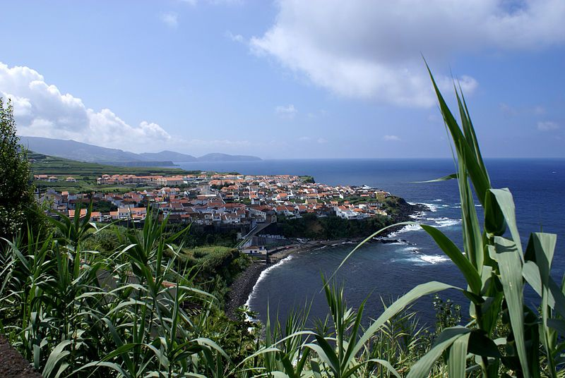 The Fonte de Buraco Belvedere overlooking the village of Maia, in the northern municipality of Ribeira Grande