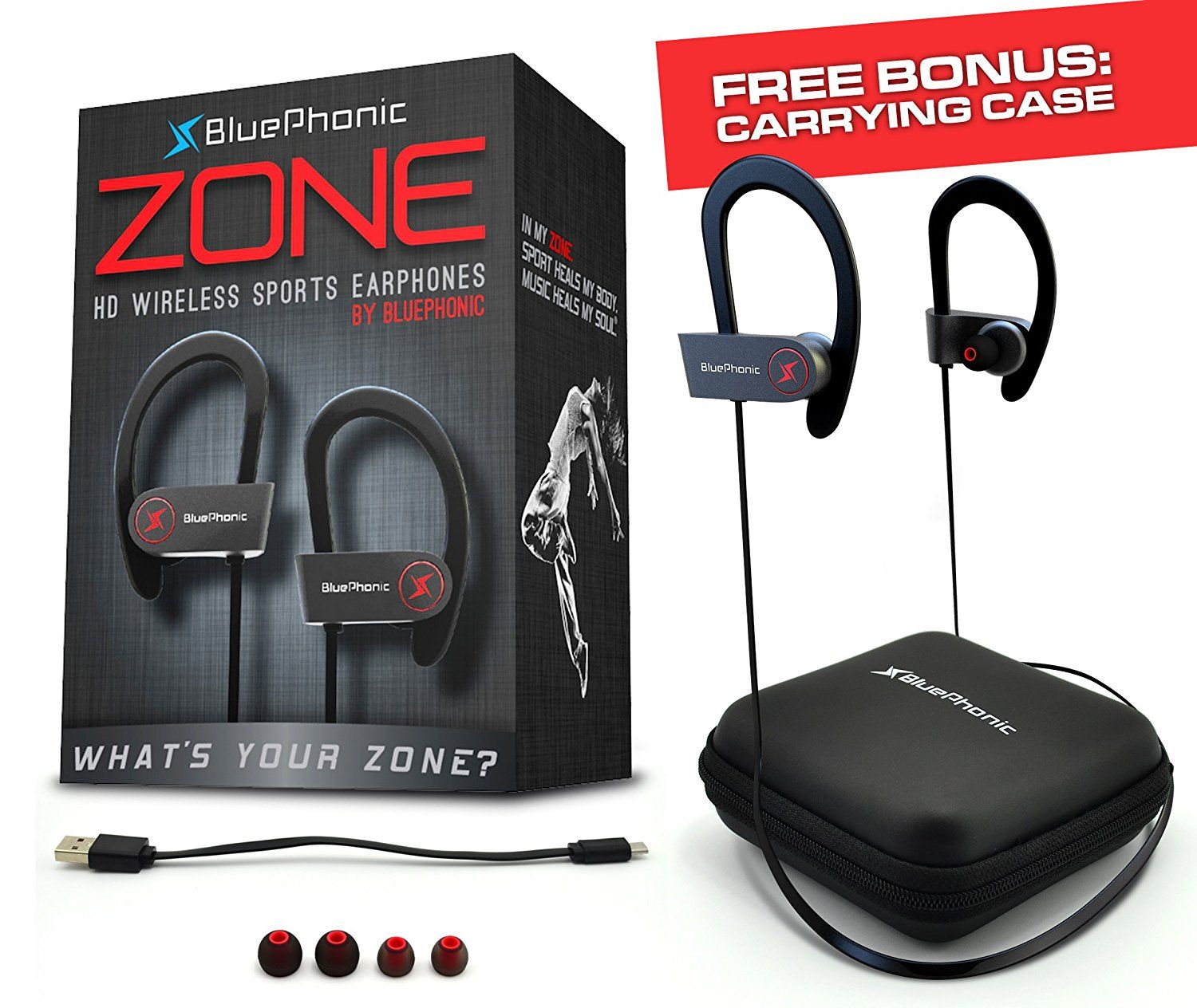 05ab1788a7f ... Hd Beats Sound Quality - Sweat Proof Stable Fit In Ear Workout Earbuds  - Ergonomic Running Earphones - Noise Cancelling Microphone w/ Travel Case  - by ...