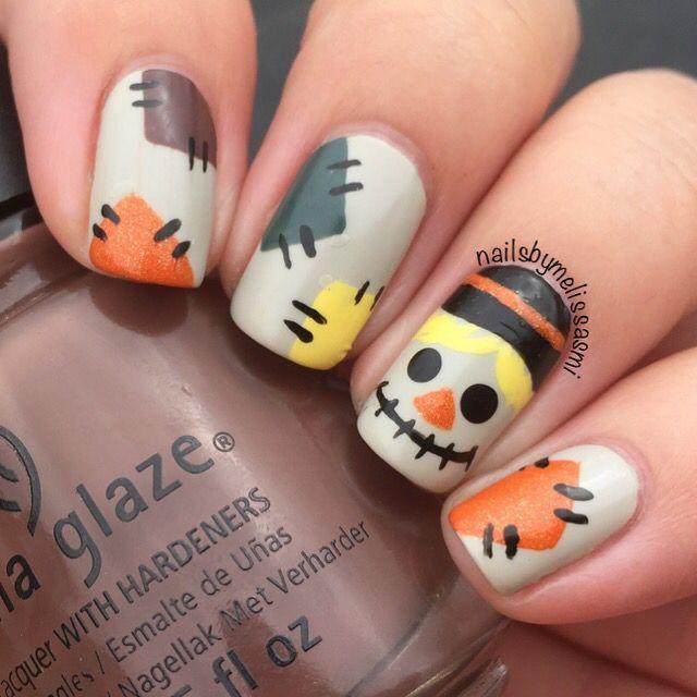 Scarecrow Nails Manicura De Unas Disenos De Unas Halloween Unas De Gel Rojas