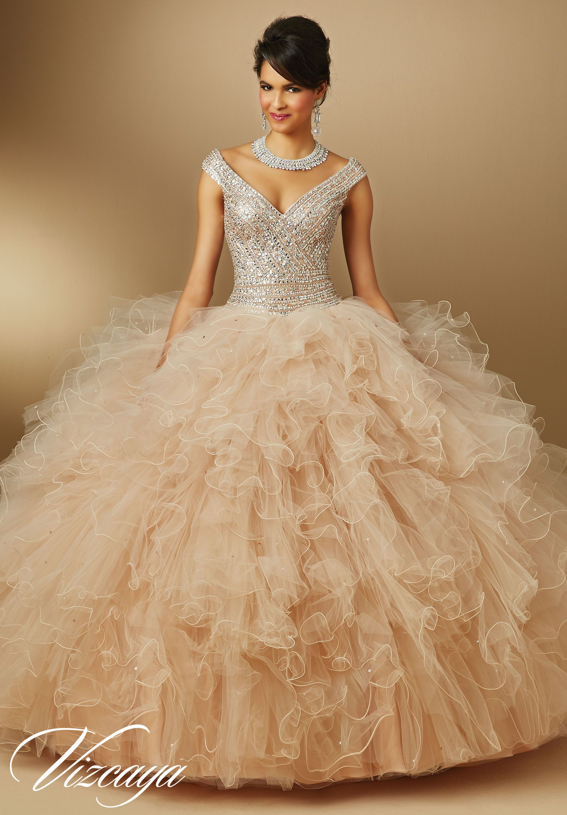 Quinceanera dresses by Vizcaya Ruffled Tulle with Beading Matching ...