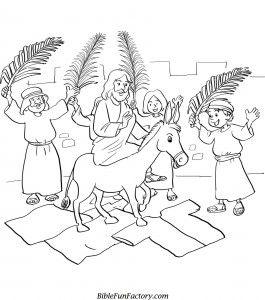 Palm Sunday Coloring Page Jesus Triumphant Entry Printable
