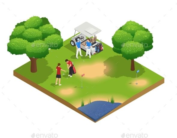 composition golf isometric course near