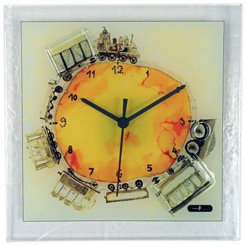 Wall Clocks: Sq Glass wall clock with Train | Wall Décor | Pinterest ...