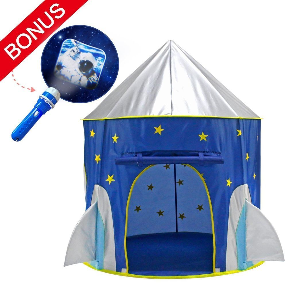 Rocket Ship Playhouse Play Tent Kids Space Torch Projector