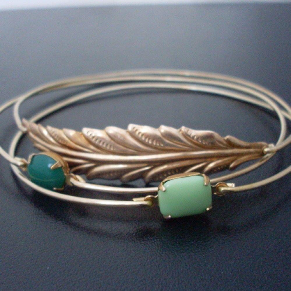 Woodland, Bangle Bracelet Set - Gold, Forest Green Bracelet, Nature Jewelry, Woodland Bracelet, Woodland Jewelry, Nature Inspired Jewelry. $36.00, via Etsy.