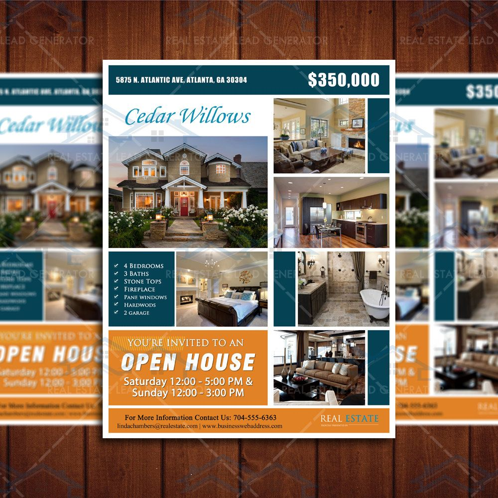 Home Flyer Template Open House And Real Estate - 85 x11 brochure template