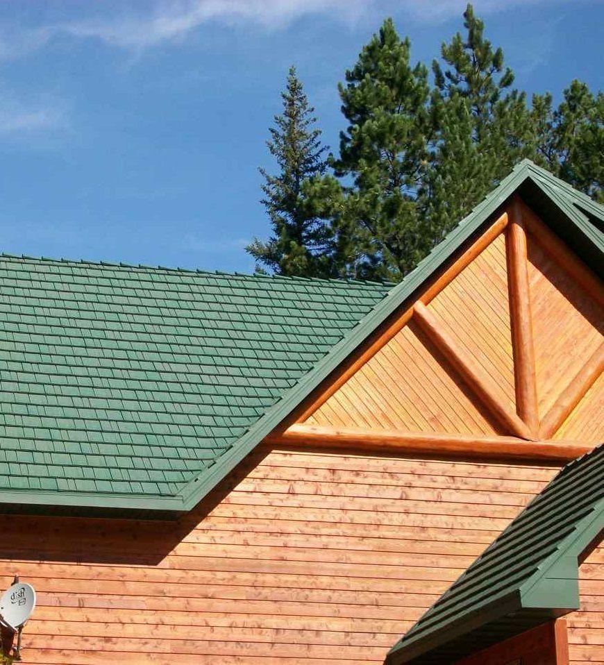 Green Tin Roof On A Log Cabin Kasselshake Steel Roof Shingles In Spruce Green By Mccarthy Metal Roo Tin Roof House Metal Roofing Prices Steel Roof Shingles