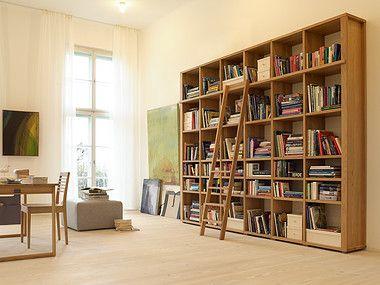 b cherregal mit leiter wohnzimmer pinterest leiter b cherregale und arbeitsecke. Black Bedroom Furniture Sets. Home Design Ideas
