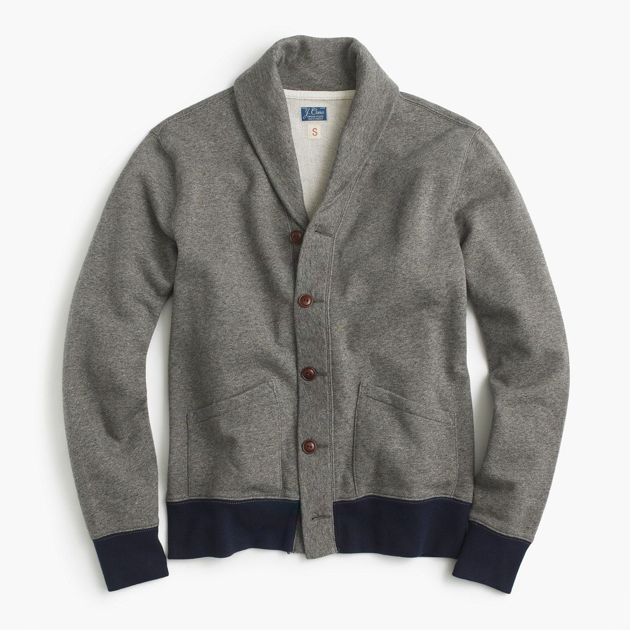 Marled cotton shawl-collar cardigan sweater | Cotton cardigan ...