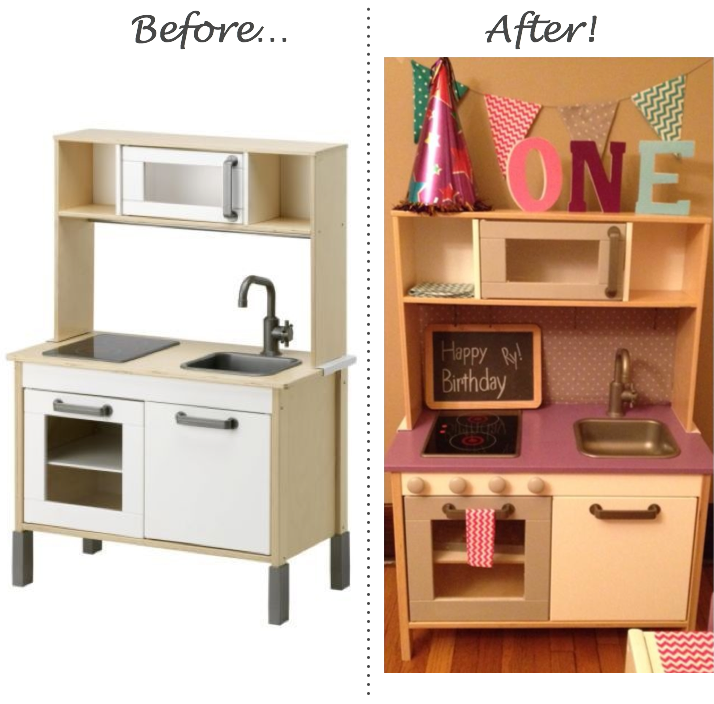 Inspired whims ikea play kitchen and table chairs upcycle for Play kitchen table