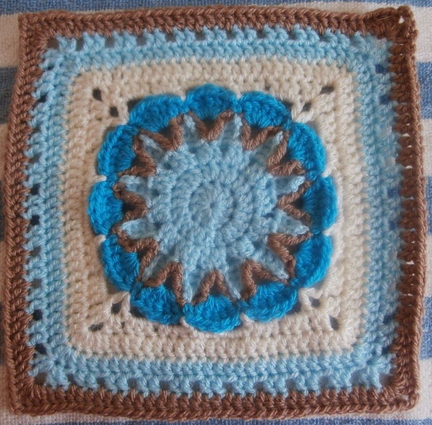 Blok 3 Starburst Flower Square Crochet Squares And Hexagons