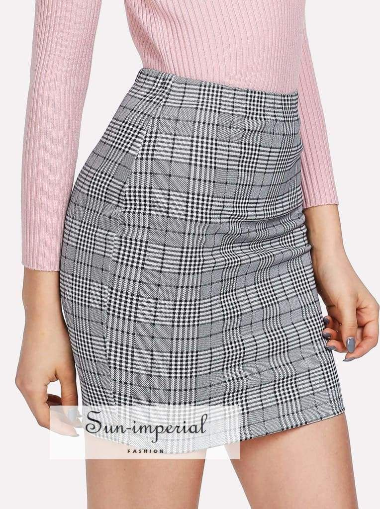 c68112a9e5e0 Color: Grey Composition: 75% Polyester, 20% Cotton, 5% Spandex Length:  Above Knee/Short Silhouette: Bodycon Style: Classy Pattern Type: Plaid  Waist Size ...