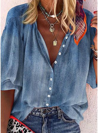 [£ 22.25] Solid V-Neck Long Sleeves Button Up Casu