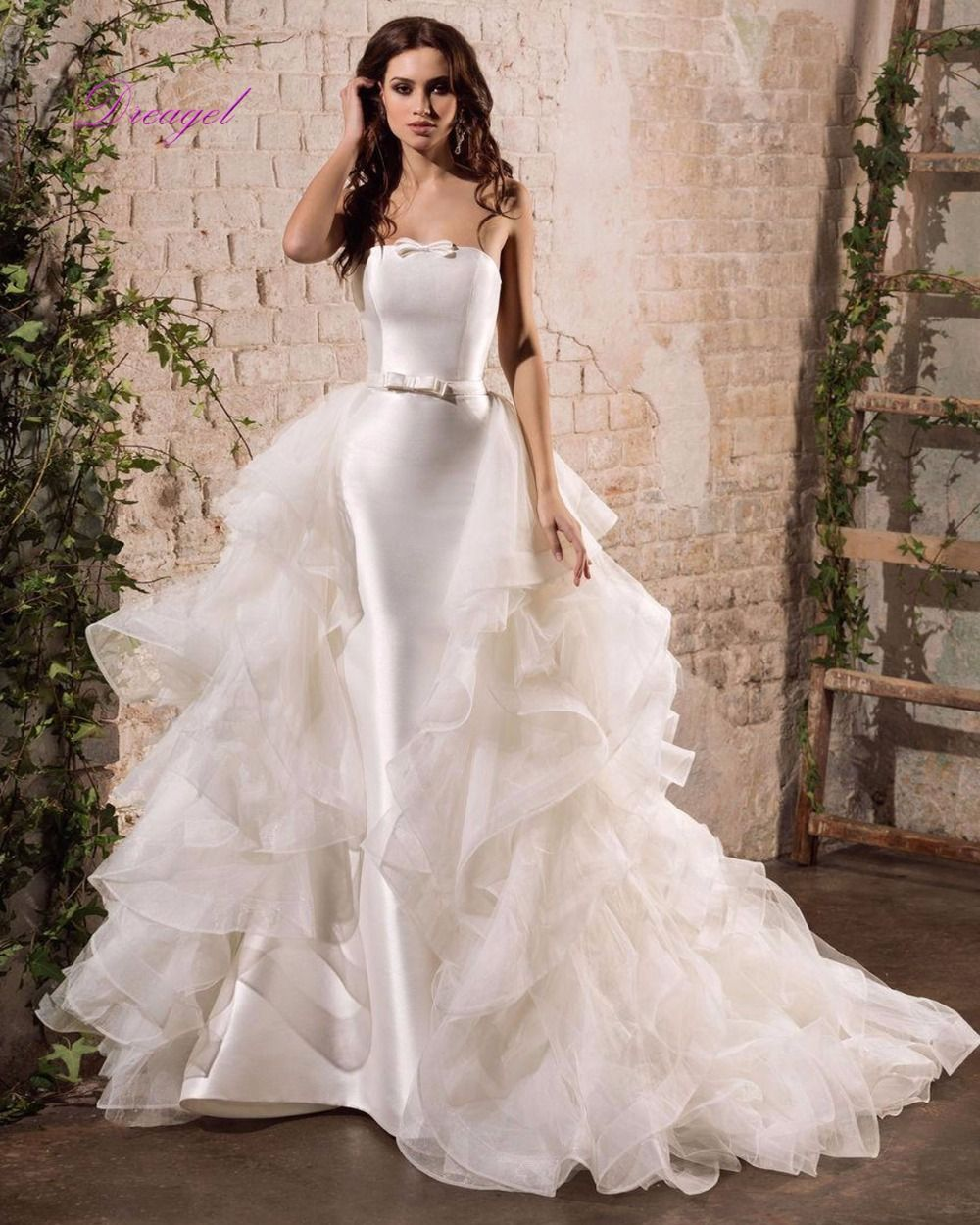 Wedding dress with removable train  Free Shipping Buy Best Dreagel New Designer Strapless Satin Mermaid
