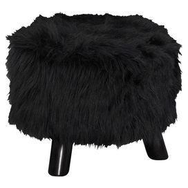 """Add a pop of style to your living room or master suite with this chic ottoman, showcasing faux fur upholstery and black legs.   Product: StoolConstruction Material: Wood and faux furColor: BlackFeatures: Plush topDimensions: 12.6"""" H x 16""""Diameter"""