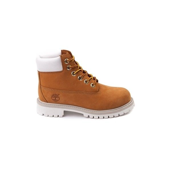 Tween Timberland 6 Classic Boot, Wheat White | Journeys Kidz ($10,999) ❤ liked on Polyvore featuring shoes, boots, timberlands, sneakers, timberland shoes, timberland boots, white shoes, timberland footwear and white boots
