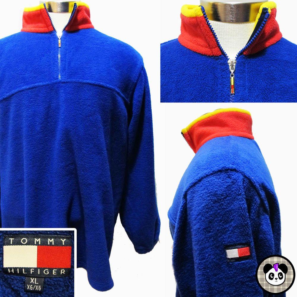 Vtg 90s Tommy Hilfiger Color Block Logo Fleece 1/4 Zip Sweatshirt Sweater Sz XL #tommyhilfiger #90s #prep #preppy #hiphop #streetstyle #streetwear #colorblock