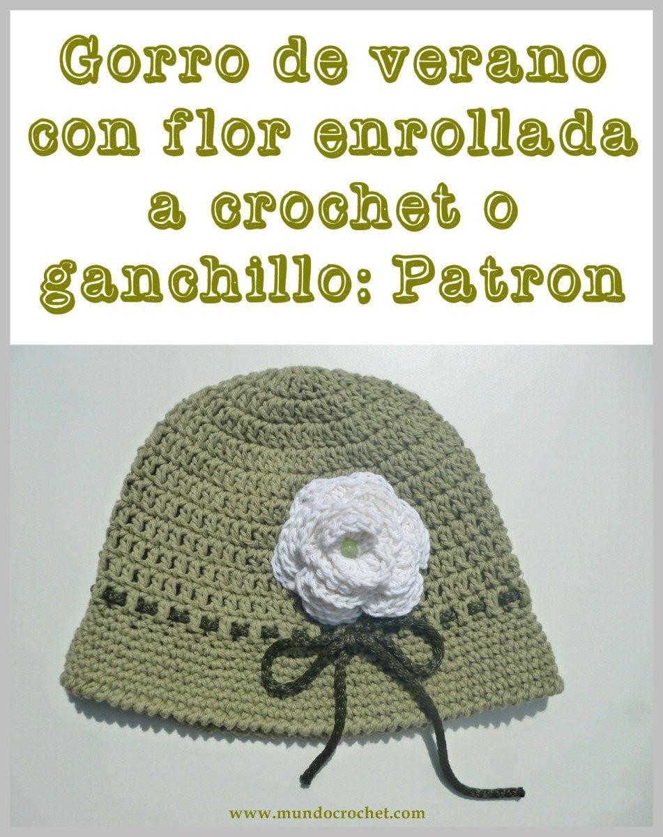 Gorro de verano con flor enrollada para niña a crochet o ganchillo ...