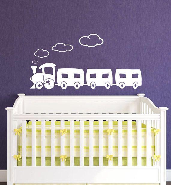 Treno decalcomania - treno muro decalcomanie muro vinile Decal Sticker Interior Decor dei bambini camera cameretta dei bambini Decor Vinyl Wall Decal Nursery Decor SV5418
