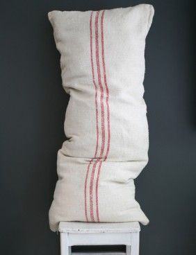 vintage linen and hemp grainsack recycled into floor pillow www.lestoilesblanches.com