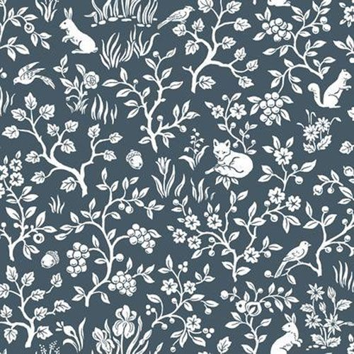 Magnolia Home Fox And Hare Navy Wallpaper Sample Swatch