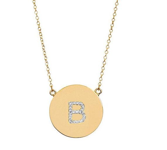 Diamond initial disc necklace handmade 14k by justforfundesign diamond initial disc necklace handmade 14k by justforfundesign 73800 mozeypictures Image collections