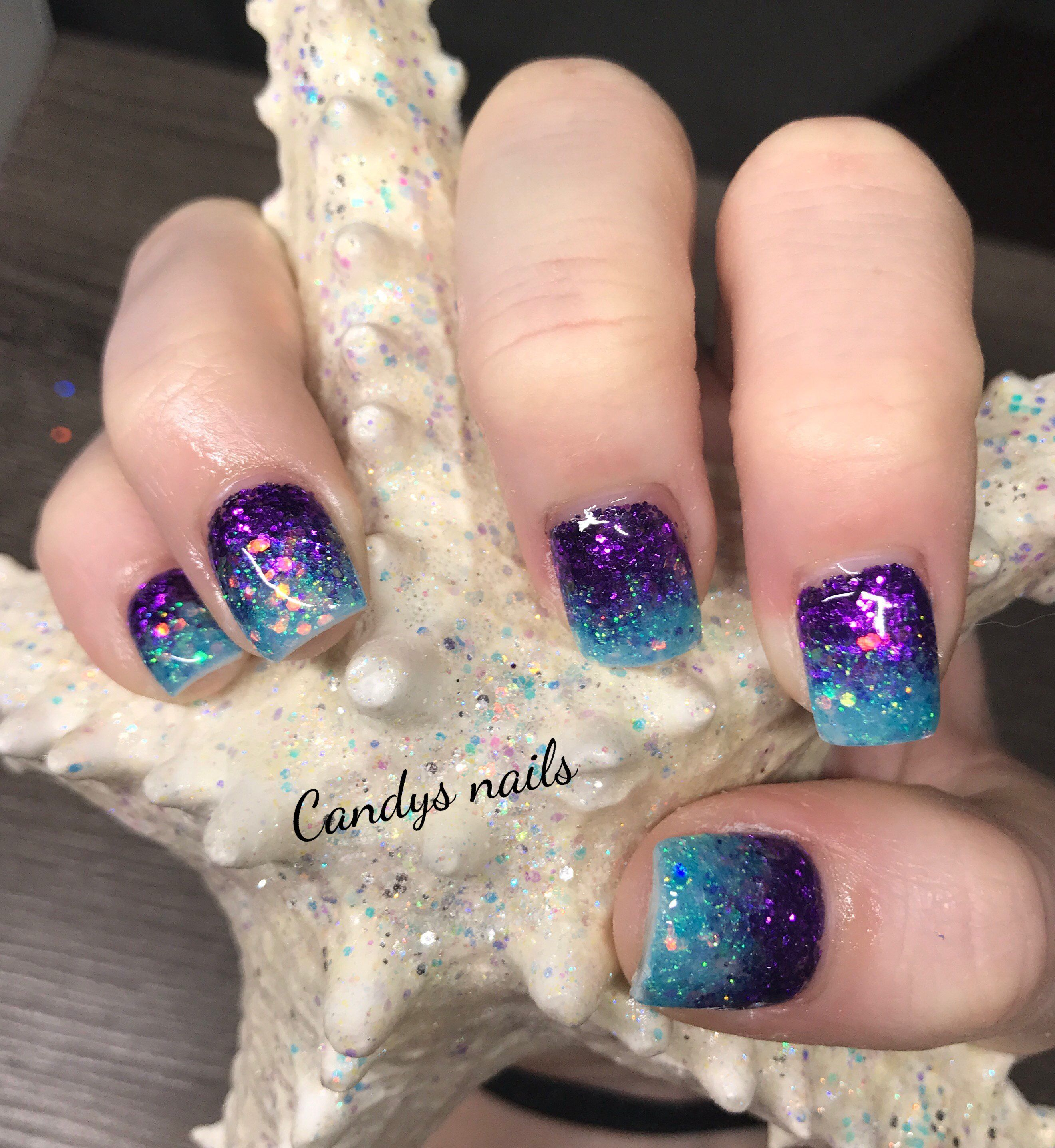 teal purple fade mermaid acrylic