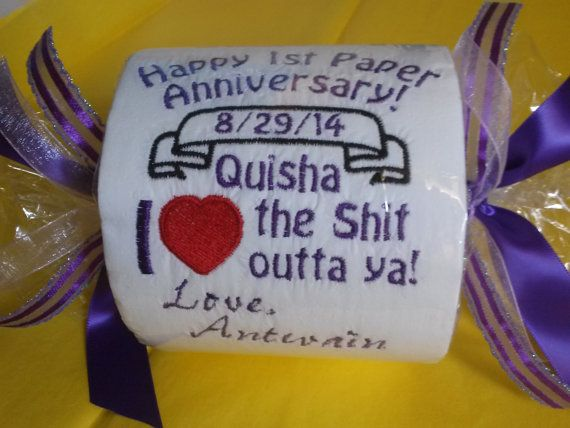 Happy 1st Paper Anniversary Embroidered Toilet By