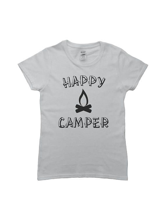 Happy Camper Shirt Womens Shirt Camping Shirt Outdoors