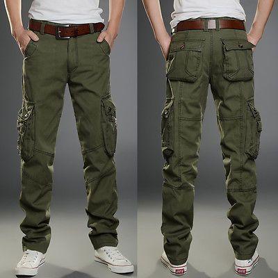 Men Punk Military Casual Outdoor work Hip Hop Pants loose Cargo Comfort Trousers