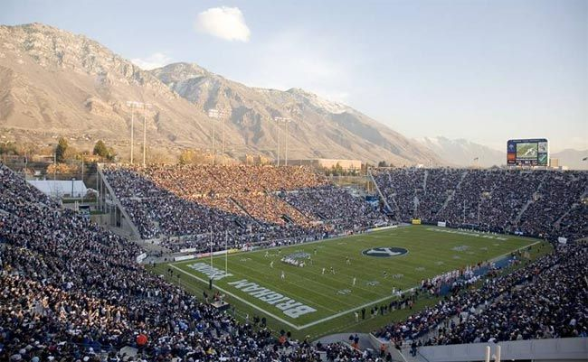 Football stadium at BYU with the Wasatch Mountains in the background. This  was a great venue. Saw Gordon Jump of WKRP… | Byu football, Byu sports, Football  stadiums