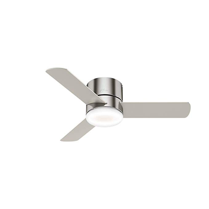 Hunter Indoor Low Profile Ceiling Fan With Led Light And Remote