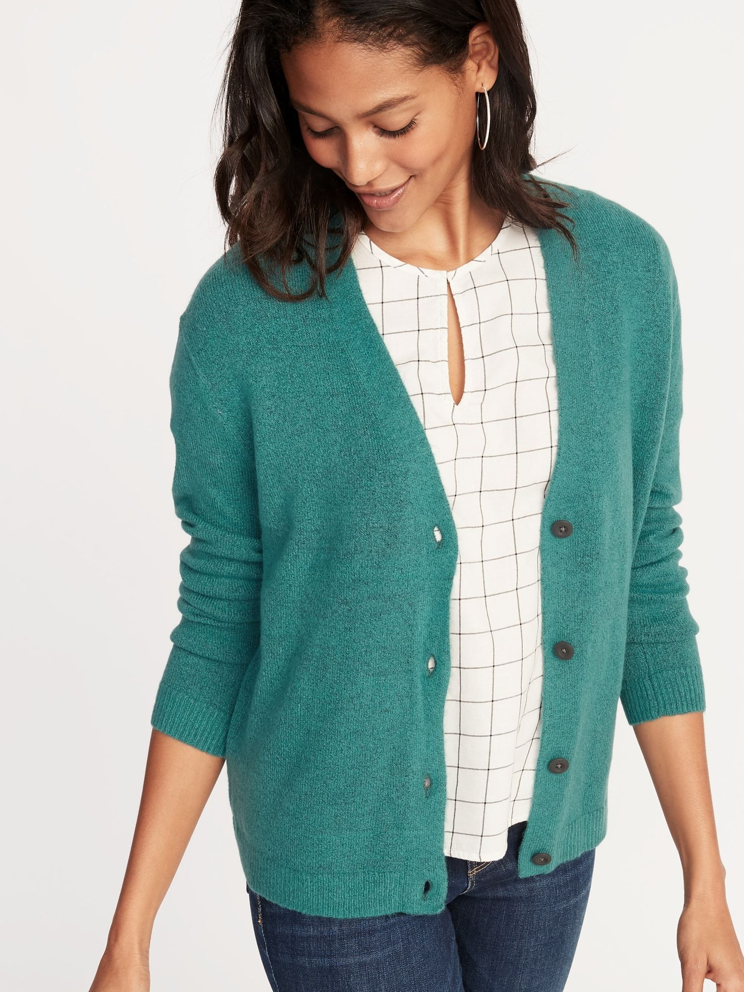 73351a337575e8 Slouchy Soft-Brushed V-Neck Cardi for Women | Old Navy Cardigan Sweaters For