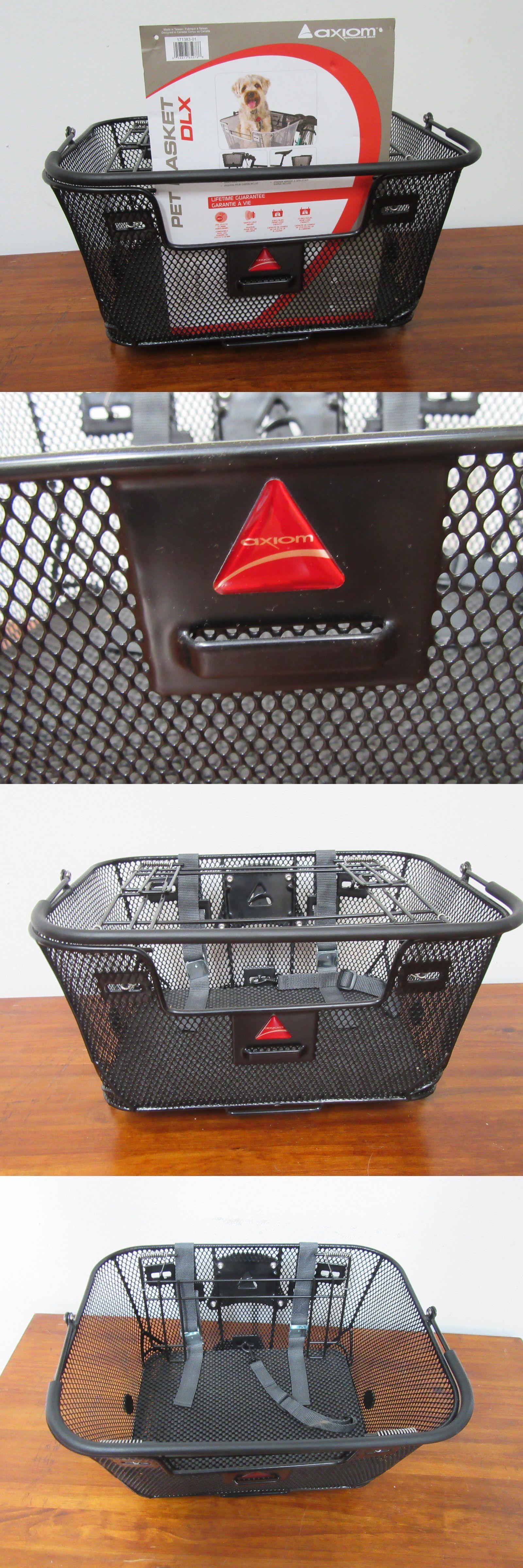 Axiom pet basket with rack and handlebar mounts black premium duel
