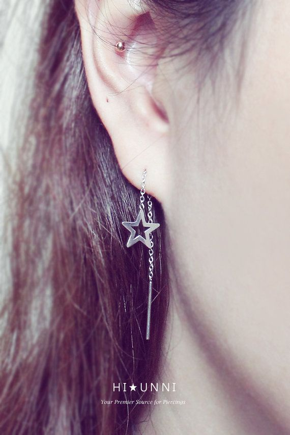 18g Chained Star Long Post Earrings Threader Earrings By Hiunni