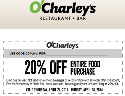 photograph relating to O Charley's Printable Coupons referred to as Pinned April 27th: 20% off at OCharleys cafe bar