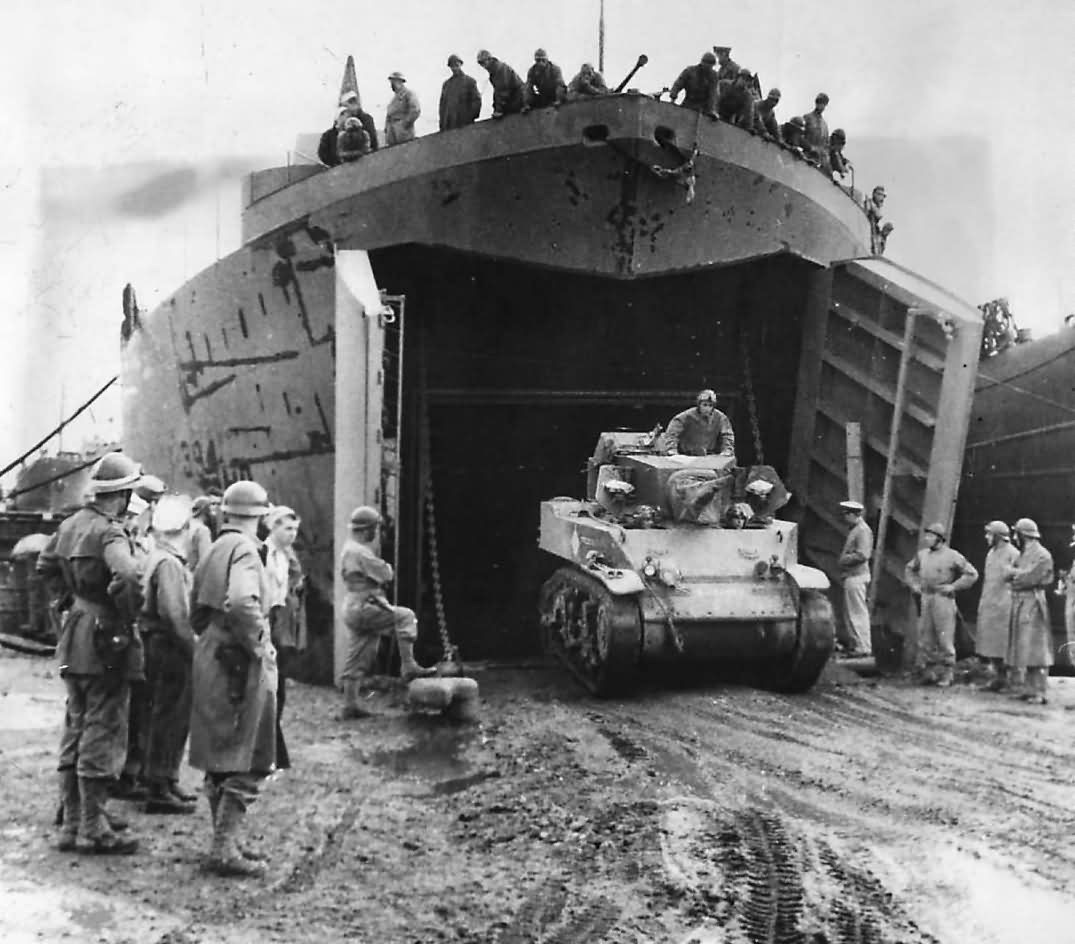 French Troops Watch M5 Stuart Tank Back Into Lst 394 In North Africa History