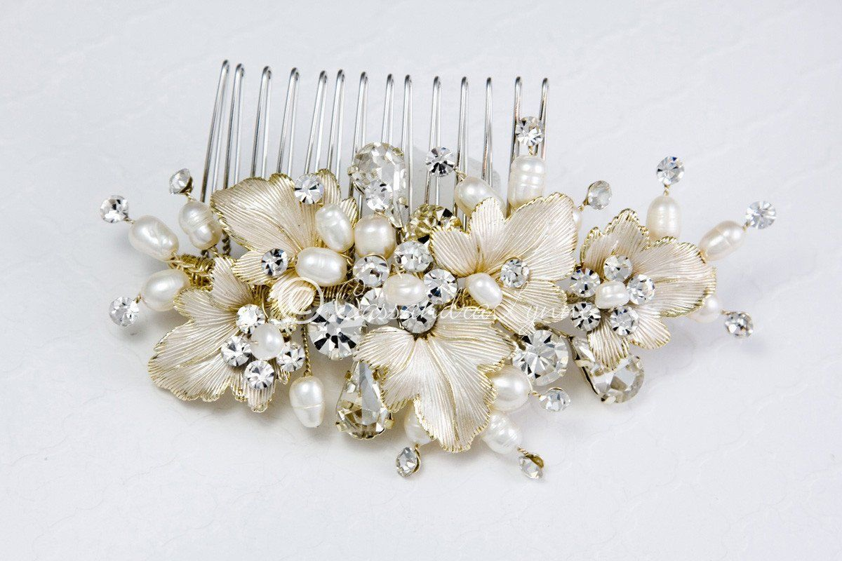 Fall Wedding Hair Comb of Leaves and Pearls Fall wedding hair