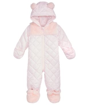 c3e0437ad First Impressions Baby Girls Hooded Footed Quilted Snowsuit with ...