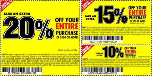Harbor Freight offers extra 20 off 100 or more or extra