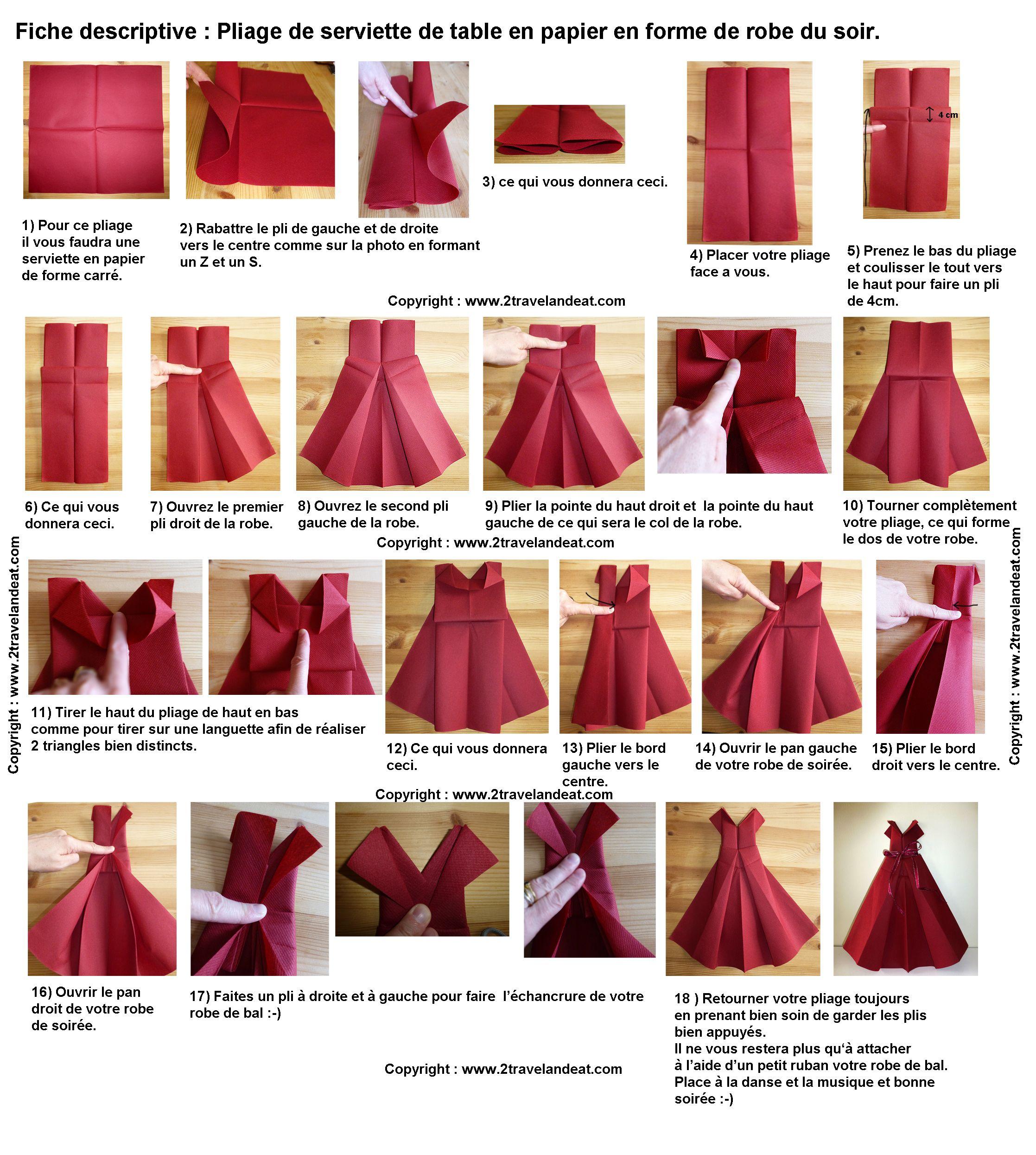 Folding Paper Towel In The Shape Of Evening Dress Folding A Paper Napkin Make A Paper Dress To Cele Pliage Serviette Papier Pliage Serviette Serviette Papier